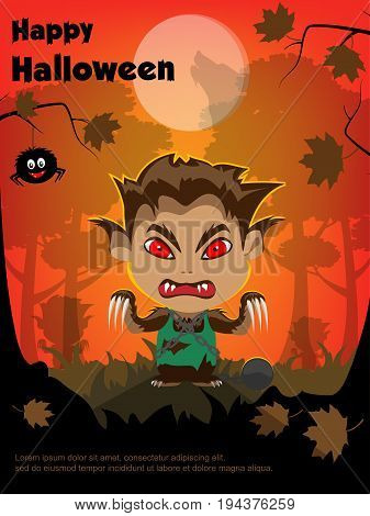 Vector illustration for Halloween. Cartoon character is a werewolf. In the forest the moon vol howls at the moon. Trees, autumn, silhouette.