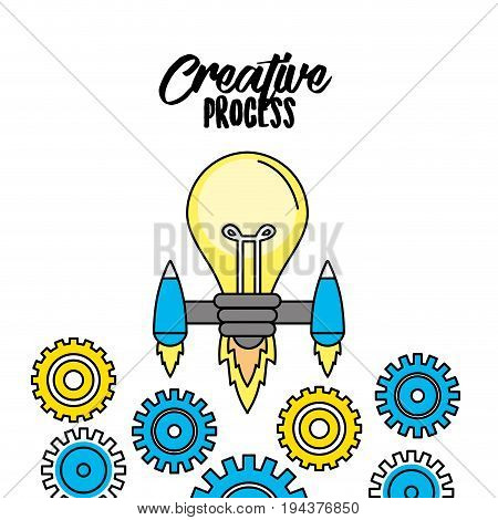bulb with thrusters and gears to creative process vector illustration