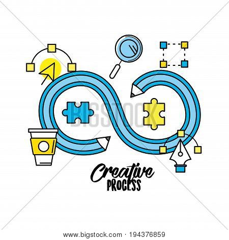 creative process and inspiration project ideas vector illustration