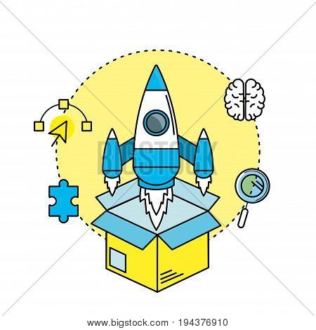 rocket in the box with creatives icons vector illustration