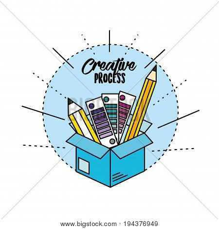 box with pencils and ideas to creative process vector illustration