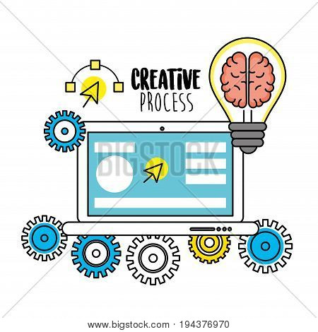 laptop and bulb with brain insiand and gears vector illustration