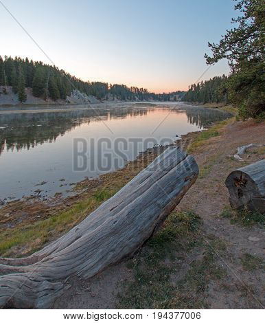 Sunset at Otter Creek picnic site at Yellowstone River in Yellowstone National Park in Wyoming USA
