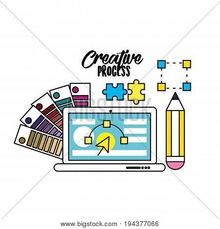 creative process with ideas icons design vector illustration
