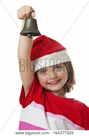 little girl with christmas bell isolated on white