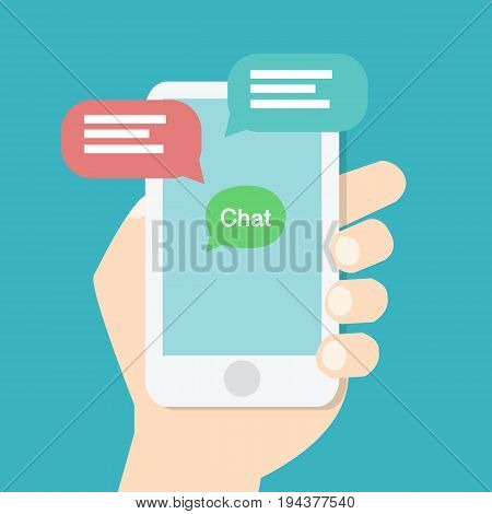 Hand holding smart phone with chat application on screen and speech chat box,online chat concept. Modern graphic elements for websites.Flat design vector illustration
