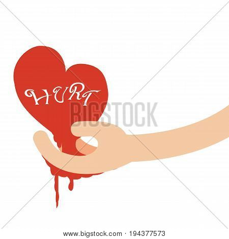 Hand giving heart of hurt.Broken heart concept.Vector illustration
