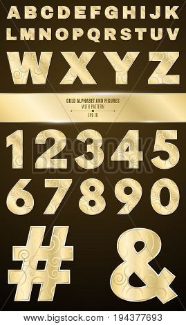 Gold alphabet for shows and presentations. Gold numbers and letters with a pattern. Metallic symbols. Vector illustration