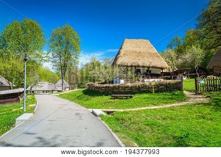 Spectacular old peasant houses Astra village museum Sibiu Transylvania Romania Europe