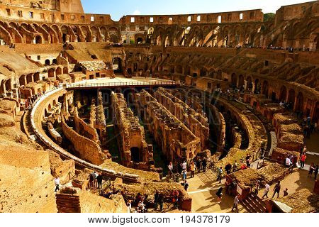 Rome Italy,November 7th 2013.The interior of the Roman Colosseum eroded by 2000 years of mother nature but still one of the wonders of the world.Come to Rome and create memories.