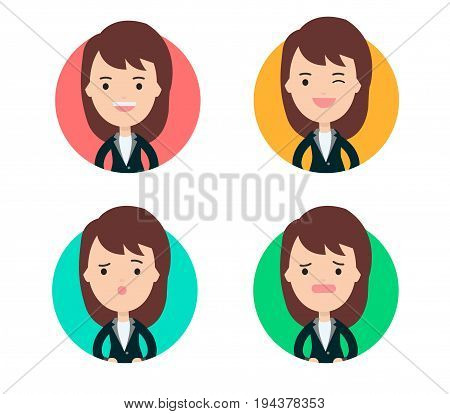 Business woman profile in many expression and colorful circle.profile picture cute business girl concept.vector illustration.Set of business woman.Woman Icons Set.