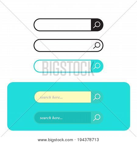 Search bar set vector interface elements with search button search box modern simple design