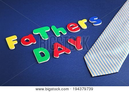 Fathers Day Words With Necktie On Blue Background