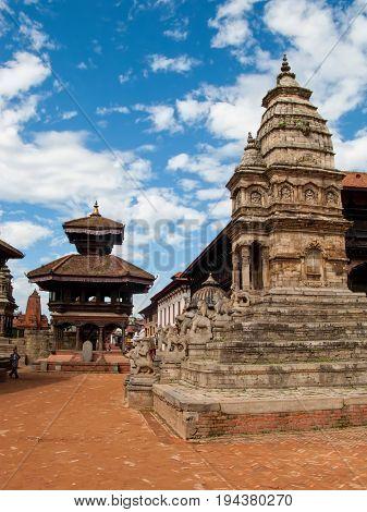 KATHMANDU, BHAKTAPUR, NEPAL.  The stone Siddhi Lakshmi Temple, also known as Lohan Dega. Durbar Square in Bhaktapur, Kathmandu valley