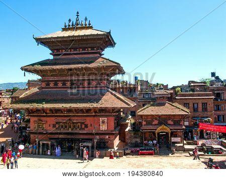KATHMANDU, BHAKTAPUR, NEPAL. 30 September 2008: Ancient Temple in the Durbar square in Bhaktapur, Kathmandu valley