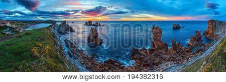 Sunset Atlantic Coastline Panorama.