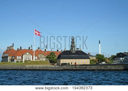 Impressive architecture of the old naval base, Copenhagen Harbor, Denmark