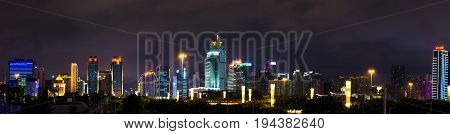 Nanning, China - June 9, 2017: Modern Business And Residential Buildings Of Qingxiu District. Nannin