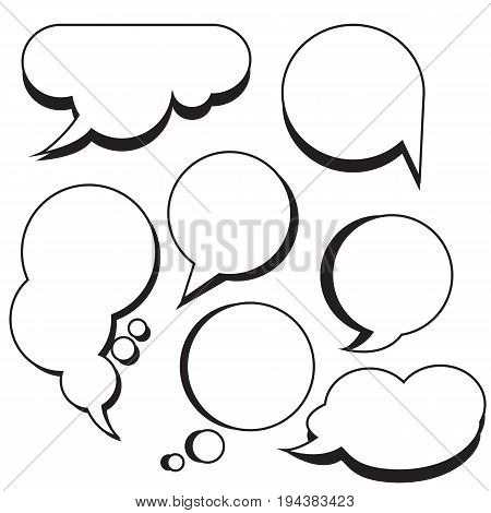 Comic bubbles and clouds cartoon text boxes set with blank comic text speech vector illustration.Set of chat bubbles.