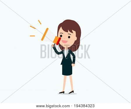 Businesswoman announce with megaphonepromotion marketing concept.character talking loudspeaker vector illustration.