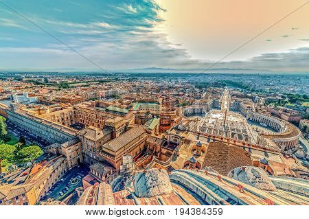 Old photo with aerial view from the cupola of Papal Basilica over St. Peter's Square in the Vatican City. Vintage processing.