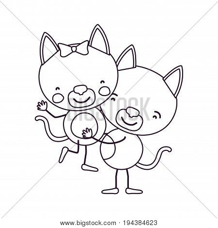 sketch contour caricature with couple of kittens one carrying the other cute animals love vector illustration