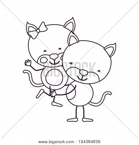 sketch contour caricature with couple of cats one carrying the other cute animals love vector illustration