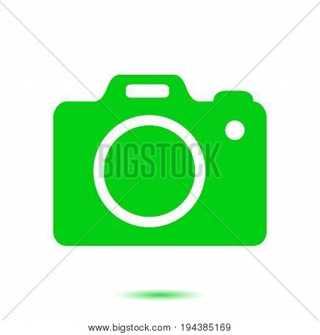 Photo camera symbol. DSLR camera sign icon. Digital camera. Flat design style.