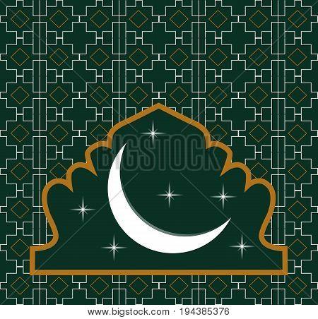 Ramadan kareem, Muslim al-quran sign vector symbol design. beautiful glowing moon on green background. Ramadhan kareem vector