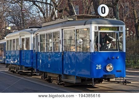 KRAKOW, POLAND - MARCH 28, 2017: Historical tram Konstal N. Was produced in 1948-1956 at the enterprise Konstal in Chorzow. This is the first tram produced in Poland after the Second World War.