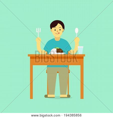 Young man wear private dress prepare to eat breakfastcurrylunchdinner with glass of water on table.flat cartoon design for infographic and heathy.