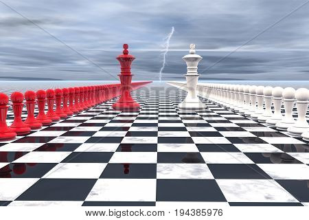 3d illustration: military-political concept. Chess field with figures of kings, leaders of their troops, red white colors are lined up opposite each other. On the background of gloomy sky lightning.