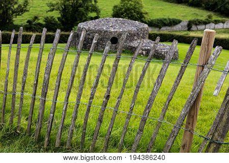 Wooden fence on a green backround in Nwgrange Ireland