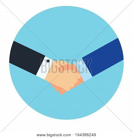 Shaking hands business vector illustration symbol of success deal happy partnership greeting shake casual handshaking agreement flat sign design isolated on blue circle