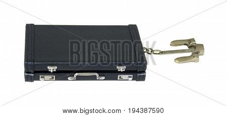 Briefcase with Nautical anchor used to anchor down to keep from drifting - path included