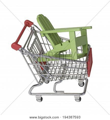 Wooden beach chair in a shopping cart