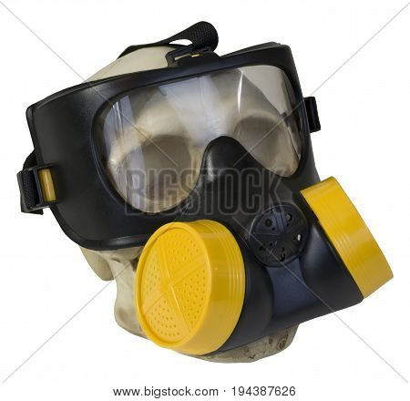 Gas mask to protect the wearer from airborne pollutants and toxic gases on skull - path included