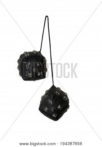 Leather and Spikes Dice similar to the fuzzy dice that are usually hung from the rear view mirror of a car - path included