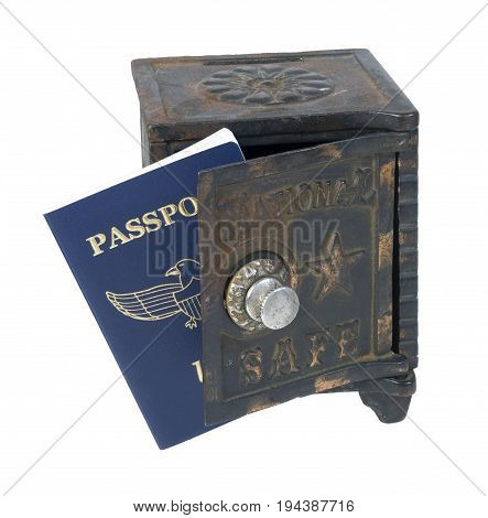 Blue passport needed when traveling between borders in a vintage safe - path included