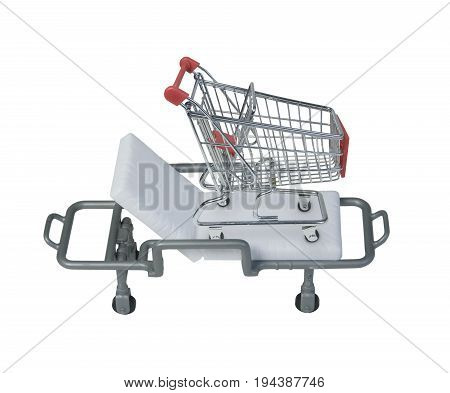 Shopping cart on a hospital gurney to show shopping health - path included