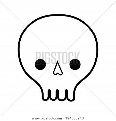 line skull danger symbol to caution alert vector illustration