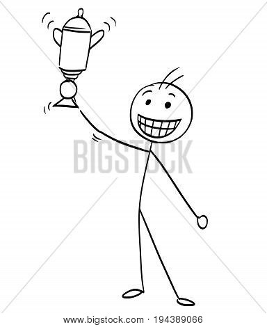 Cartoon vector stick man stickman drawing of happy man with big smile holding a winning cup trophy.