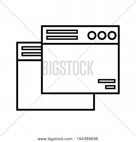 line technology windows element and website document vector illustration