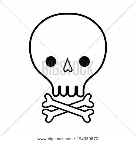 line skull with bones to danger and warning symbol vector illustration