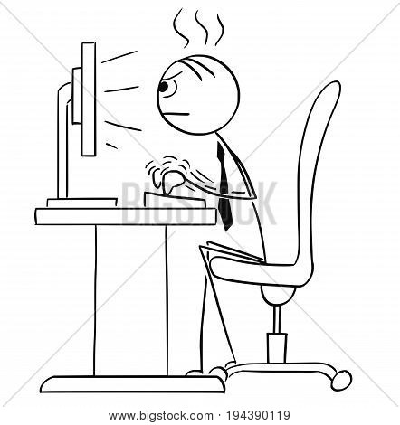 Cartoon vector stick man stickman drawing of Man working typing hard on the desktop computer.