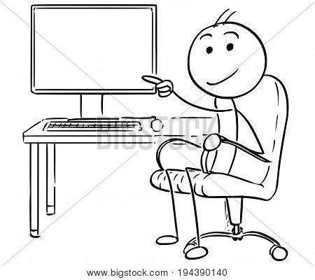 Cartoon vector stick man stickman drawing of man sitting in a office chair pointing at empty desktop computer screen display.