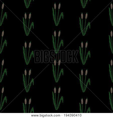 Seamless pattern with embroidery stitches imitation little rush and green leaf. Shrub rush embroidery pattern for printing on fabric paper for scrapbook gift wrap.