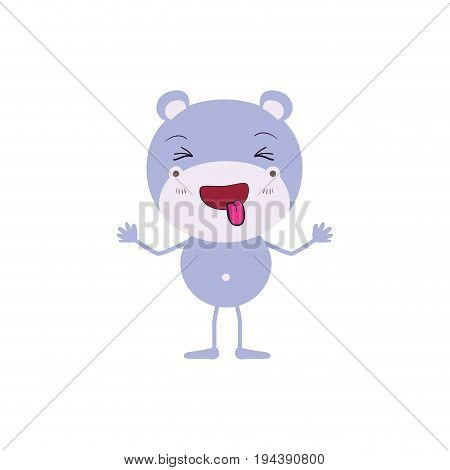 colorful caricature of cute hippopotamus disgust expression and sticking out tongue vector illustration