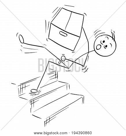 Cartoon vector stick man stickman drawing of man holding large paper box and falling from the top of the stairs stairway staircase