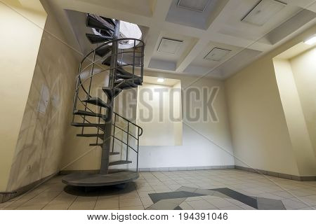 Spiral circle metal staircase decoration in interior